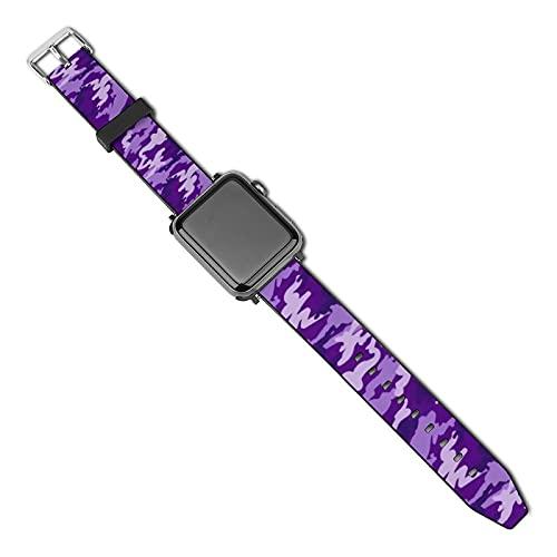 La última correa de reloj de estilo compatible con Apple Watch Band 38 mm 40 mm Correa de repuesto para iWatch Series 5/4/3/2/1, patrón de camuflaje morado