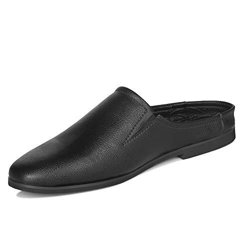 [Luckaura] オフィスサンダル メンズ スリッパ ビジネスサンダル 黒 室内 通気 蒸れない かかとなし クロッグ サボサンダル スリップオン 革靴 紳士靴 会社用 社内履き プレゼント通勤 25-27cm (25.5cm-EU41, ブラック)