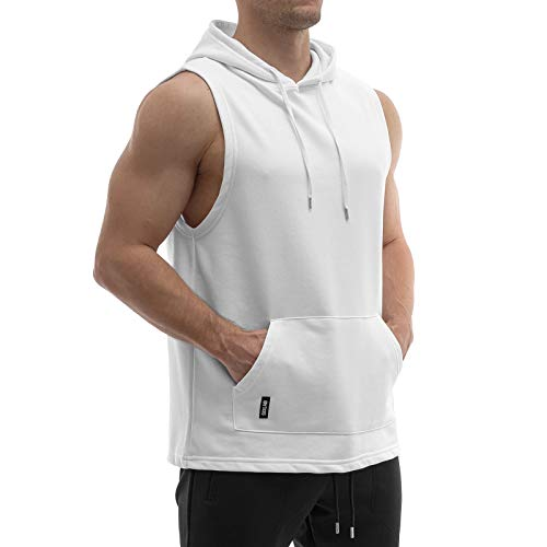 Sixlab French Terry Sleeveless Hoodie Herren Cut Off Tank Top mit Kapuze Muscle Gym Fitness (L, Weiß)