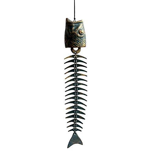 MEISHU Campanelli eolici in ghisa con Ossa di Pesce in Bronzo Campanelli eolici in Metallo Vintage, per Giardino, Cortile, Portico, Decorazione da Appendere, 21 '' / 53 cm (Retro ruggine)
