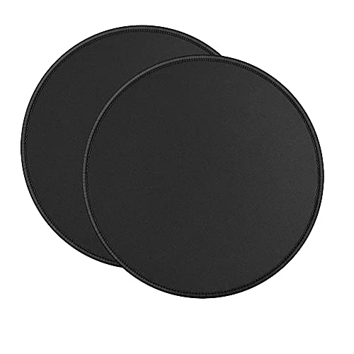 2 Pieces Black Round Mouse Pad,Small Mousepads for Wireless Mouse,Non-Slip Rubber Base Mousepad with Stitched Edge,Mousepad for Home,Computer,Laptop,Office,8.7X8.7X0.12 inches(220X220X3MM)