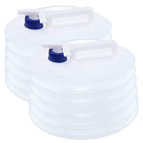 Bramble 2X Faltkanister & Faltbarer Camping Wasserkanister, 5 L Wassertank – Outdoor Falt-Kanister, Wasserspender, Trinkwasserkanister - Wasser Aufbewahrung mit Zapf-Hahn, Wasser kanister behälter