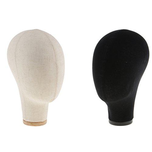 Baoblaze 2x Tête De Bloc De Toile Pour L'extension De Cheveux Perruques De Dentelle Fabrication Et Affichage Styling Mannequin Tête De Mannequin Noir Et Beige 22 ''