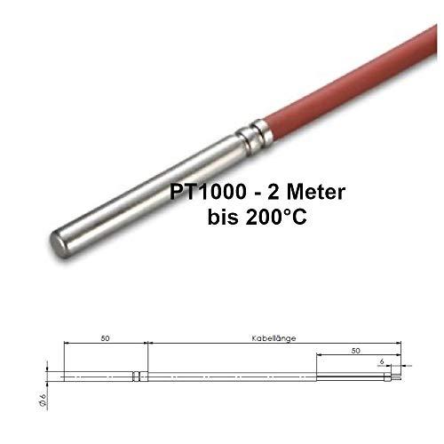 PT1000 Temperaturfühler SOLAR 200°C – Speicher- Kollektor- Solarfühler – 2000mm