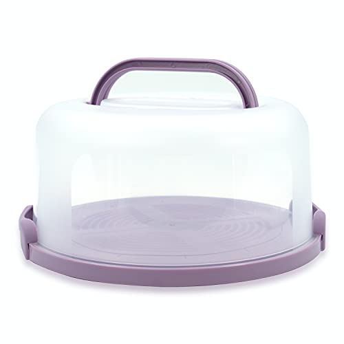 Top Shelf Elements Cake Carrier for Up to 10 inch x 4 1/2 inch Cake. Two Sided Fashionable Stand Doubles as Five Section Serving Tray Perfect Taker Caddie for Travel (Lilac)