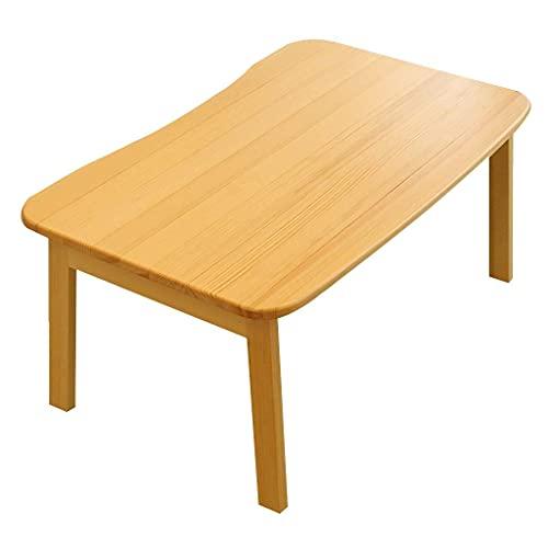 HFTD Vikbar massivt trä lågt bord laptop sängbord frukostbricka med hopfällbara ben bärbar laptop skrivbord laptop bäddsoffa barn sittande bokhylla (färg: Träfärg, storlek: 70 x 42 x 31 cm)