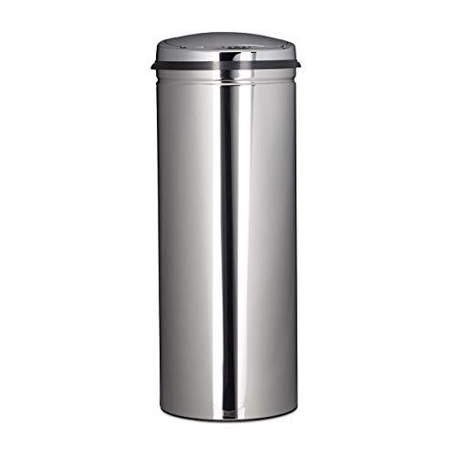Relaxdays Poubelle en inox 50 litres bac à ordures en métal 80 cm de hauteur 30 cm de diamètre couvercle rond, argenté