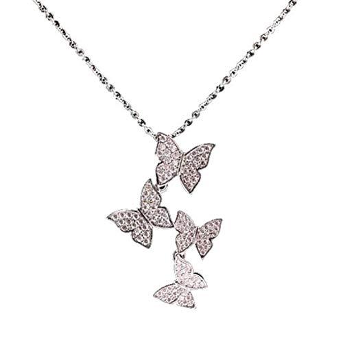 Bluesteer Collar de Mariposa de circonita de Plata de Ley 925, Gargantilla de Personalidad y Temperamento, Regalo de joyería para mamá, Platino, 40 cm