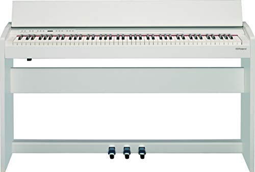 Roland F-140R Compact 88 Console Digital Piano with Bluetooth MIDI/USB and Weighted Hammer-Action Keyboard with Ivory Feel, Stereo Speakers, Key Cover, Satin White Finish (F-140R-WH)