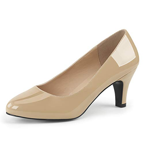 Pink Label Big Size Pumps Divine-420 Lack Nude Gr. 48