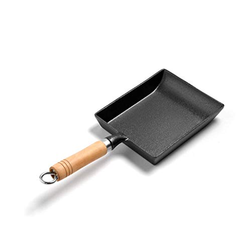 min min Wok Non StickunbesChichtete Japanische Tortilla Rolled Huevo, Nonstick Gusseisen-Platz Bratpfanne Holzgriff