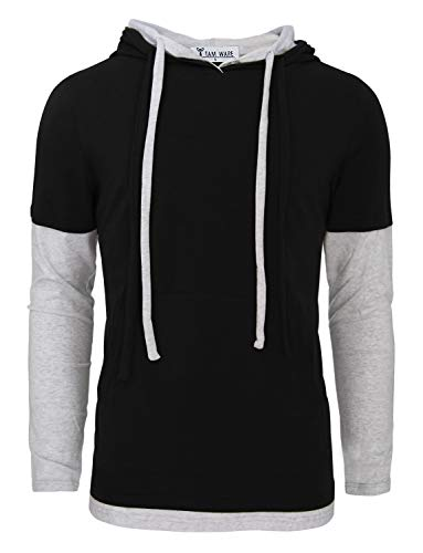 TAM WARE Mens Stylish Two Toned Single Jersey Drawstring Hoodie T-Shirts TWHD1006-BLACK-US L