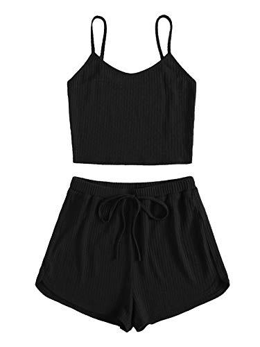 SOLY HUX Damen Cami Top und Shorts Set Zweiteiler Spaghettiträger Sommer Hausanzug Loungewear Camisole Outfits Sportwear Set Schwarz L