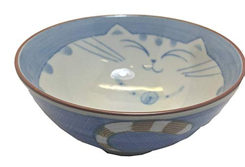 JapanBargain, Japanese Porcelain Bowl Rice Bowl Soup Bowl Made in Japan, Maneki Neko Smiling Cat Pattern (1, Bowl 4.5-inch)