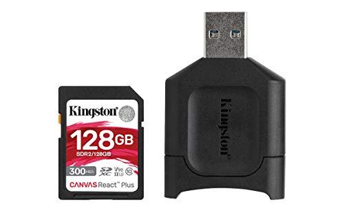 Kingston MLPR2/128 GB Schede SD e Lettori Media, 128 GB SDXC React Plus SDR2 e MLP Lettore di Schede SD