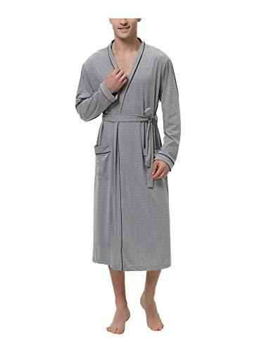 Sykooria Bademantel Herren Baumwolle, Leichter Morgenmantel Herren für Sommer, Nachtwäsche Kimono Saunamantel Herren Pyjama mit 2 Taschen und Gürtel, Weich und Bequem, Grau
