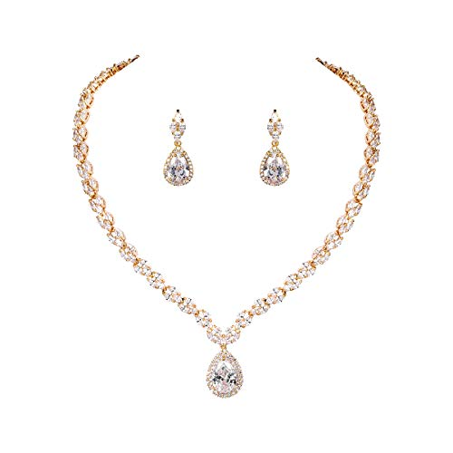 WeimanJewelry Silver/Gold Plated Women Cubic Zirconia CZ Marquise Teardrop Bridal Tennis Necklace and Drop Earring Set for Wedding Brides (Gold)