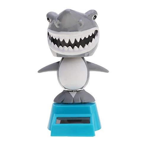 Amosfun Solarfigur Wackel Haifisch Auto Armaturenbrett Dekoration Desktop Ornament Spielzeug Weihnachten Geschenk (Dunkelgrau)