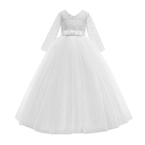 Moent Girls Dress&Skirt,Child Girls Lace Bowknot Princess Wedding Performance Formal Tutu Dress Clothes,Flower Girl Dresses For Weddings(White-11-12 Years)