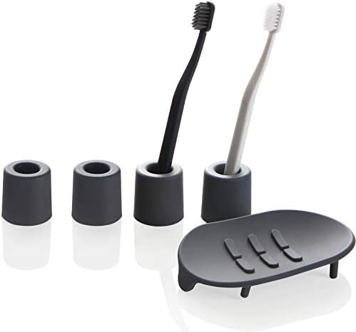 Lazy K Silicone Bathroom Toothbrush Razor Stand Soap Dish Rack Eco Friendly Toothbrush Holder product image
