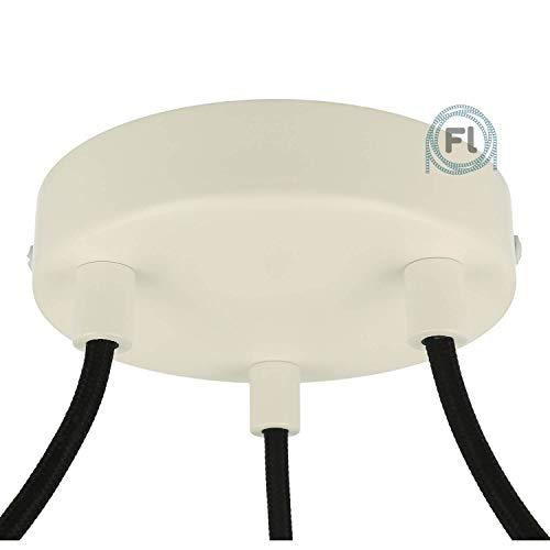Flairlux Baldachin 3-fach weiß zur Montage von Pendelleuchten | Lampenbaldachin für alle Lampen geeignet | zur Lampenaufhängung an der Decke | Deckenrosette 120x25 mm inkl zylindrischem Klemmnippel
