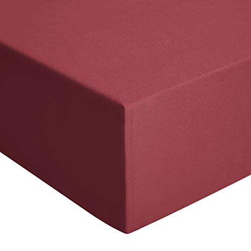 AmazonBasics - Lenzuolo con angoli, in jersey, Rosso - 160 x 190 cm