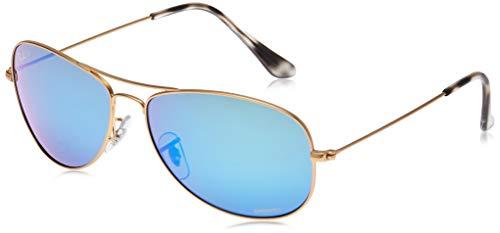 Ray-Ban RB3562 Chromance Mirrored Aviator Sunglasses, Matte Gold/Polarized Blue Mirror, 59 mm