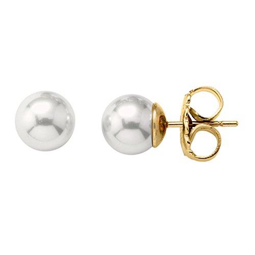 Majorica - Pendientes, 6 mm perlas blancas redondas