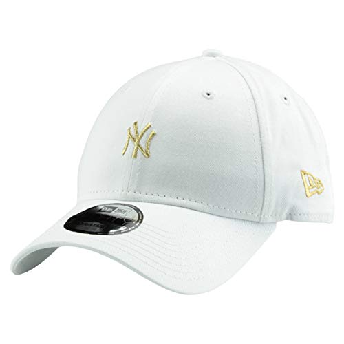 New Era 9Forty MLB League Essential/Brand Logo 940 Adjustable Cap Strapback Cap Baseball Cap met 7kmh stickers, OSFM, B4 NY White 8048