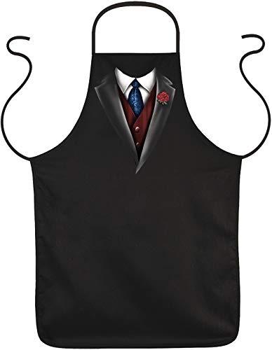 """Grillschürze für Männer mit elegantem Motiv\""""Smoking Krawatte Weste\""""   Grill Schürze Kochschürze lustig Baumwolle schwarz   lustige Geschenke zum Thema BBQ Grillen Grillzubehör"""