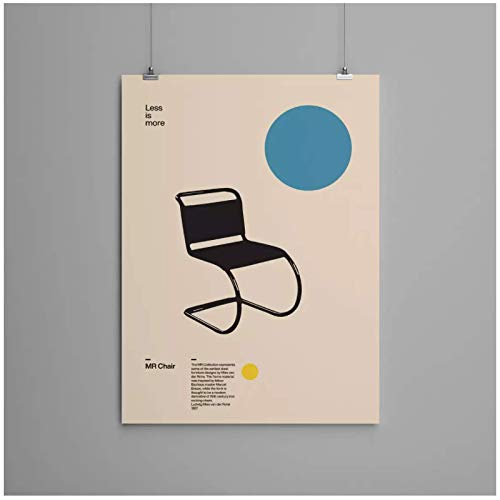 Poster MR Silla Ludwig Mies van der Rohe Minimal Furniture Design Bauhaus Design-24x36 pulgadas Sin marco