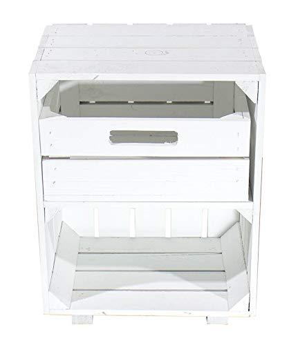 1x Vintage-Möbel 24 Weißer Nachttisch mit Schublade 30,5cm x 40cm x 54cm Nachtschrank Tisch Regalkiste Weinkiste Obstkisten Apfelkisten Weiss Shabby chic Tisch Ablage Landhaus DIY klassisch