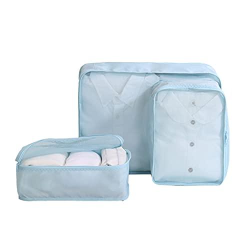 YBYWL 3 Set Sistema di Cubo di Viaggio, Borse Organizer Impermeabili, Abbigliamento Intimo Calzature Organizzatori Sacchi di Stoccaggio Set(Color:Azzurro)