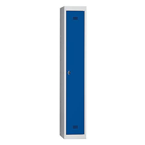 Wolf Stahlspind, zerlegt - 1 Abteil, Höhe 1700 mm, Breite 300 mm, 1 Hutboden, 1 Kleiderstange - Grundelement, lichtgrau / enzianblau - Garderobenschrank Garderobenschränke Kleiderspind Kleiderspinde Raumsparschrank Raumsparschränke Schließfach