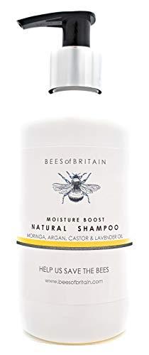 SHAMPOO NATURALE - OLIO di RICINO, MORINGA, ARGAN & LAVANDA - 250 ml - di BEES of BRITAIN. Senza Solfati, Senza Parabeni, Senza Silicone. Diamo il 5% dei profitti per aiutare salvare le api.