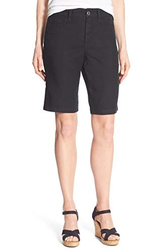 NYDJ Women's Catherine Short in Stretch Linen, Black, 8