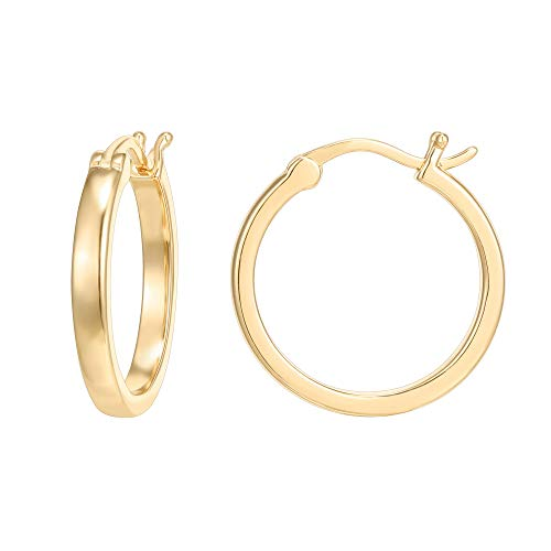 PAVOI 14K Yellow Gold Plated 925 Sterling Silver Post Lightweight Hoops | Yellow Gold Hoop Earrings for Women