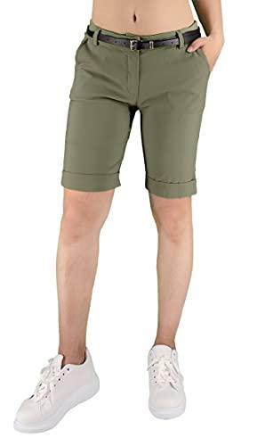 JOPHY & CO. Pantalone Donna Bermuda con Cintura e Tasche (cod. 3009) (Militare, 3XL)