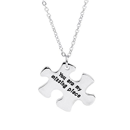 'You Are My Missing Piece' Puzzle Pendant Chain Necklace | Stainless Steel Pendant Necklace Charm Chain Pendant | Women Jewelry Gift For Valentines Day Birthday Gifts Lover Couples (1pc)
