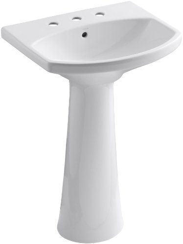 KOHLER K-2362-8-0 Cimarron Pedestal Bathroom Sink with 8' Centers, White