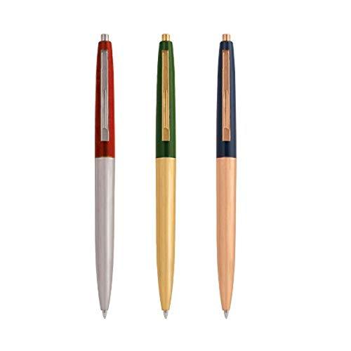 Kikkerland KK4328 - Bolígrafo en Estilo Retro, Metal, 3 Piezas, Colores Surtidos