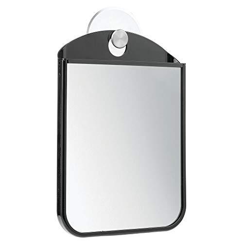mDesign beschlagfreier Rasierspiegel mit Saugnapf – auch als Schminkspiegel benutzbar – der ideale Kosmetikspiegel für das Badezimmer – schwarz/mattsilberfarben