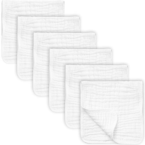 """Price comparison product image 6 Pack Muslin Burp Cloths Large 20"""" by 10"""" 100% Cotton,  Hand Wash Cloth 6 Layers Extra Absorbent and Soft"""