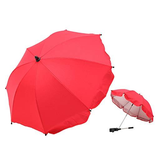 YQY Bebé Plegable Ajustable Parasol Paraguas Compatible Proteger Sun Rain for PRAM Jusse Buggy Ajustable Universal 75 Diámetro,Rojo
