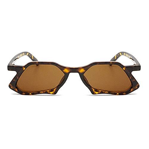 QCSMegy Gafas de Sol Polígono Irregular Gafas De Sol De Conducción Gafas De Personalidad De La Moda Unisex UV400 Protección Leopard Frame (Color : Brown)