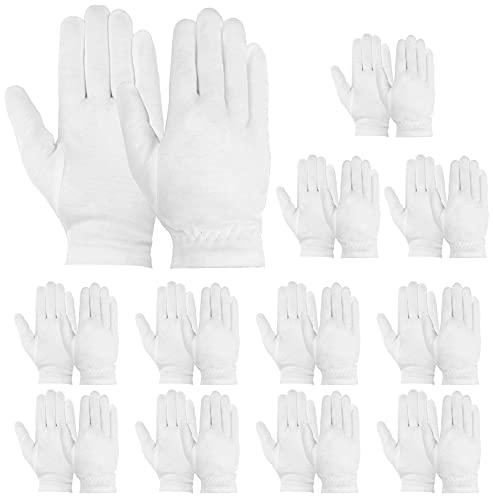 Yesland 24 paquetes de guantes de algodón, suave limpieza para servir de archivo y guantes hidratantes con pulsera segura para joyas de arte y trabajos domésticos