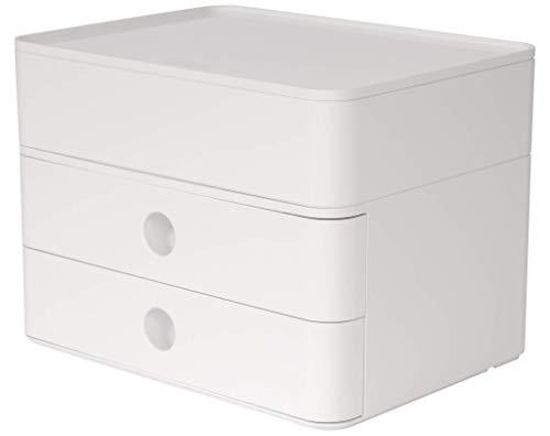 HAN SMART-BOX PLUS ALLISON – kompakte Design-Schubladenbox mit 2 Schubladen und Utensilienbox mit Deckel, snow white, 1100-12