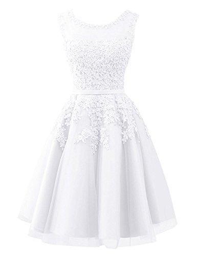 Beyonddress Damen Abendkleider mit Applikationen Elegant Ballkleid Brautjungfernkleider Kurz Partykleid(Weiß,34)