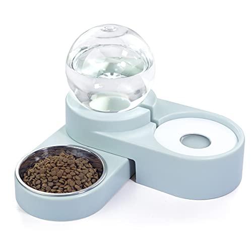 maohegou wasserspender für Hunde und Katzen automatischer Wassertränke futterspender katzennapf Hunde trinkbrunnen futterautomat (Hellblau)