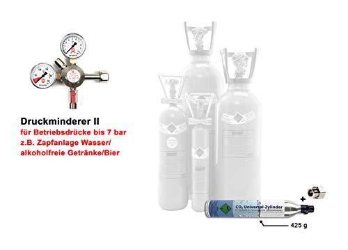 Gase Partner Profi-Set: CO2 Flasche (gefüllt) + CO2 Druckminderer für Zapfanlage Getränke Bier (Druckminderer II (Getränke) 7 bar, 425g CO2 Zylinder + Adapter)
